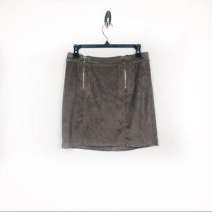 Kendall + Kylie Gray Zipper Suede Mini Skirt S